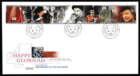 Great Britain First Day Cover, '40th Anniversary of the Queen's Accession', Royal Mail, House of Lords, London, SW1, 06-Feb-1992