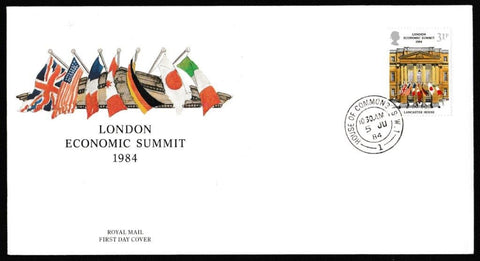 Great Britain First Day Cover, 'Economic Summit. London', Royal Mail, House of Commons, London, SW1, 06-Jun-1984