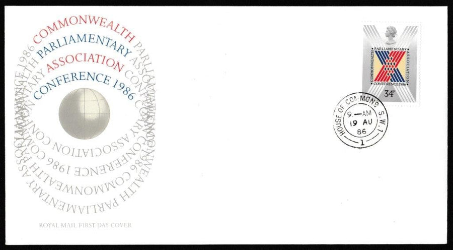 Great Britain First Day Cover, 'Commonwealth Parliamentary Conference', Royal Mail, House of Commons, London, SW1, 19-Aug-1986