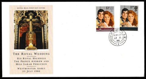 Great Britain First Day Cover, 'The Royal Wedding', Royal Mail, House of Commons, London, SW1, 22-Jul-1986