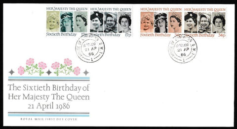 Great Britain First Day Cover, '60th Birthday of Queen Elizabeth II', Royal Mail, House of Commons, London, SW1, 21-Apr-1986