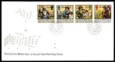 Great Britain First Day Cover, '350th Anniversary of the Civil War', Royal Mail, House of Commons, London, SW1, 16-Jun-1992