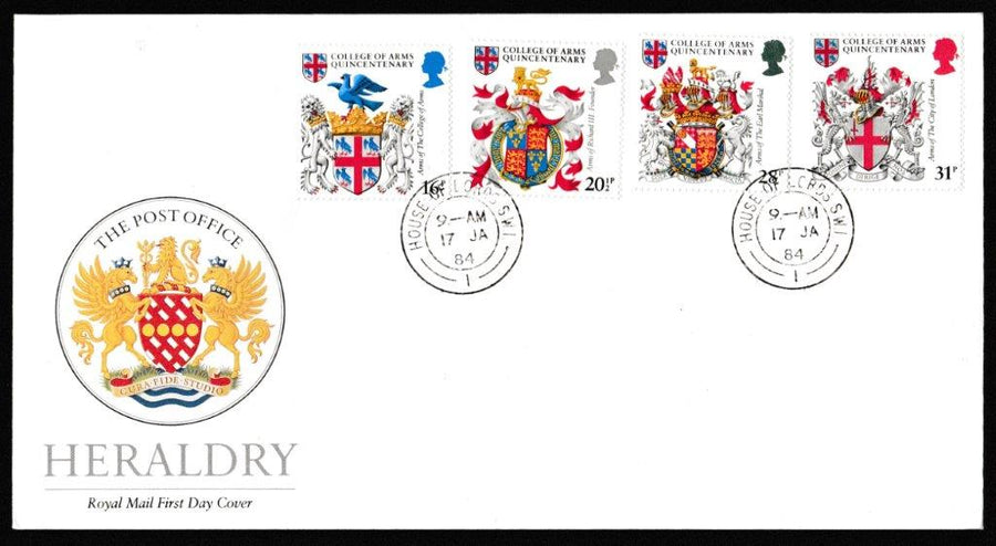 Great Britain First Day Cover, 'Heraldry - College of Arms Quincentenary', Royal Mail, House of Lords, London, SW1, 17-Jan-1984