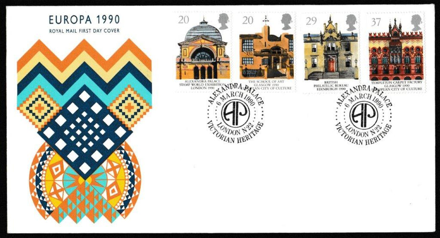 Great Britain First Day Cover, 'Europa 1990 - Historic Buildings', Royal Mail, Victorian Heritage, Alexandra Palace, London, N22, 06-Mar-1990
