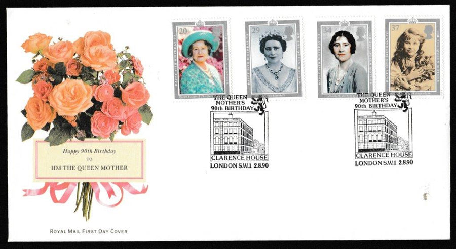 Great Britain First Day Cover, '90th Birthday HM The Queen Mother', Royal Mail, The Queen Mothers 90th Birthday, Clarence House, London, SW1, 02-Aug-1990