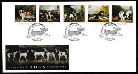 Great Britain First Day Cover, 'Dogs - Centenary Crufts Dog Show', Royal Mail, The Best of British Dogs on Show, Birmingham, 08-Jan-1991