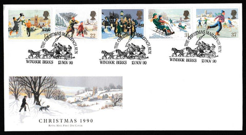 Great Britain First Day Cover, 'Christmas 1990', Royal Mail, The Christmas Mailcoach Run, Windsor, Berks, 13-Nov-1990