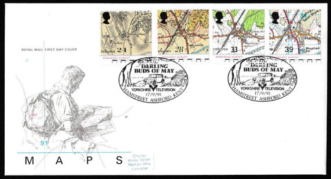 Great Britain First Day Cover, 'Maps - Bicentenary of the Ordnance Survey', Royal Mail, Darling Buds of May, Hamstreet, Ashford, Kent, 17-Sep-1991