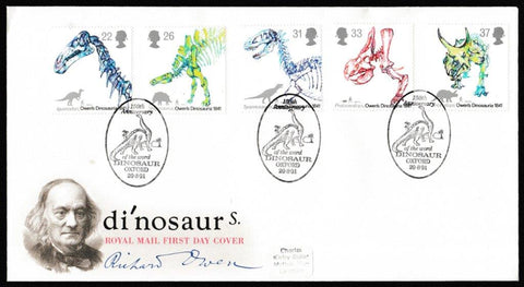 Great Britain First Day Cover, '150th Anniversary Use of the word Dinosaur', Royal Mail, 150th Anniversary of the word Dinosaur, Oxford, 20-Aug-1991