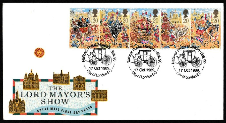 Great Britain First Day Cover, 'The Lord Mayor's Show', Royal Mail, National Postal Museum, SWL 90, City of London, EC, 17-Oct-1989