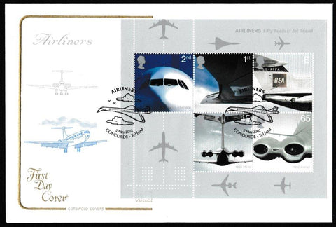 Great Britain First Day Cover - Mini Sheet, 'Airliners - Mini Sheet', Cotswold, Airliners, Concorde, Telford, 02-May-2002
