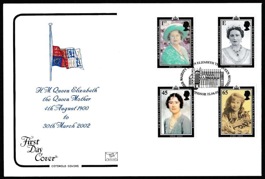Great Britain First Day Cover, 'HM Queen Elizabeth The Queen Mother', Cotswold, Her Majesty Queen Elizabeth the Queen Mother, Windsor, 25-Apr-2002