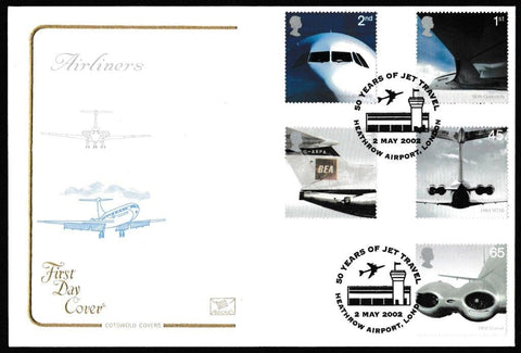 Great Britain First Day Cover, 'Airliners', Cotswold, 50 Years of Jet Travel, Heathrow Airport, London, 02-May-2002