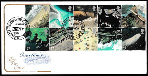 Great Britain First Day Cover, 'Coastlines', Cotswold, The White Cliffs of Dover, Kent, 19-Mar-2002