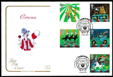 Great Britain First Day Cover, 'Circus', Cotswold, Chipperfield Circus, Kings Langley, 09-Apr-2002