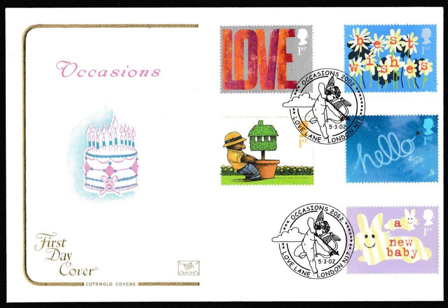 Great Britain First Day Cover, 'Occasions Greetings Stamps', Cotswold, Occasions 2002, Love Lane, London, N17, 05-Mar-2002