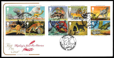 Great Britain First Day Cover, 'Rudyard Kiplings Just so Stories', Cotswold, Rudyard Kipling, Birmingham, 15-Jan-2002