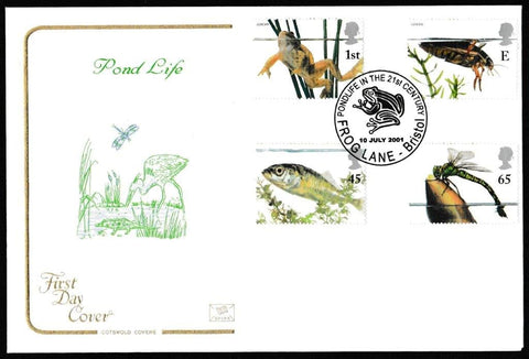 Great Britain First Day Cover, 'Pond Life (Europa Issue)', Cotswold, Pondlife in the 21st Century, Frog Lane, Bristol, 10-Jul-2001
