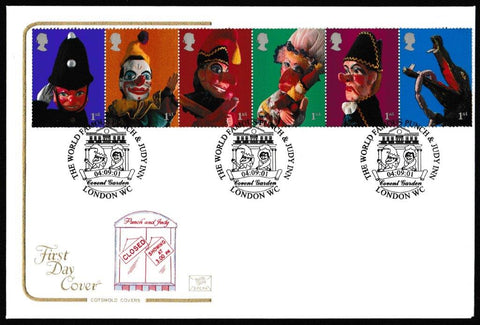 Great Britain First Day Cover, 'Punch & Judy - Se-tenant ', Cotswold, The World Famous Punch & Judy Inn, London, WC, 04-Sep-2001