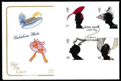 Great Britain First Day Cover, 'Fabulous Hats', Cotswold, Royal Ascot Ladies Day, Ascot, Berks, 19-Jun-2001