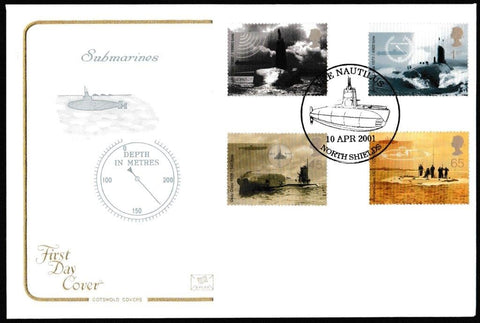 Great Britain First Day Cover, 'Submarines', Cotswold, The Nautilus, North Shields, 10-Apr-2001