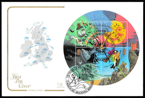 Great Britain First Day Cover - Mini Sheet, 'Weather - Mini Sheet', Cotswold, 150 Years of Weather Charts, Bracknell, Berkshire, 13-Mar-2001