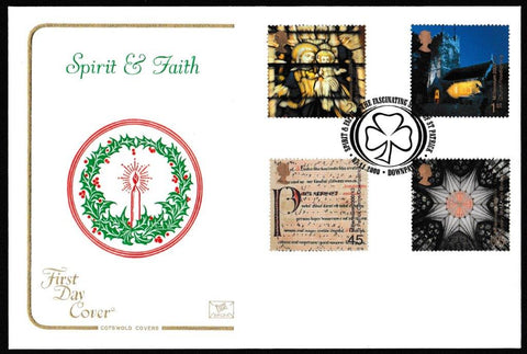 Great Britain First Day Cover, 'Spirit and Faith', Cotswold, St. Patrick, Downpatrick, 07-Nov-2000