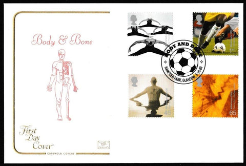 Great Britain First Day Cover, 'Body and Bone', Cotswold, Hampden Park, Glasgow, 03-Oct-2000