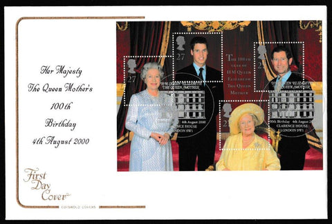 Great Britain First Day Cover - Mini Sheet, 'Queen Elizabeth the Queen Mothers 100th Birthday - Mini Sheet', Cotswold, HM Elizabeth The Queen Mother, Clarence House, London, SW1, 04-Aug-2000