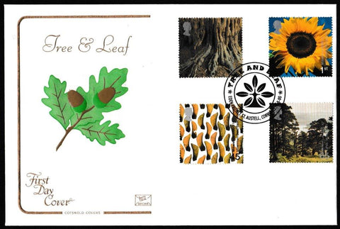 Great Britain First Day Cover, 'Tree and Leaf', Cotswold, Eden Project, St. Austell, Cornwall, 01-Aug-2000