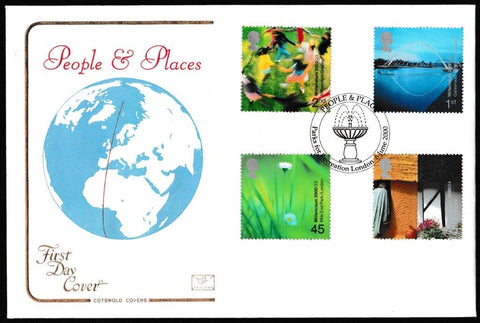 Great Britain First Day Cover, 'People and Place', Cotswold, Parks for Recreation, London, 06-Jun-2000