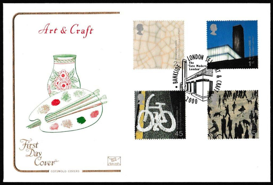Great Britain First Day Cover, 'Art and Craft', Cotswold, Bankside, London, SE1, 02-Feb-2000