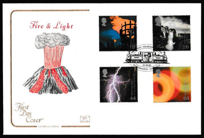 Great Britain First Day Cover, 'Fire and Light', Cotswold, Welsh Mountain Rail, porthmadog, Gwynedd, 01-Feb-2000