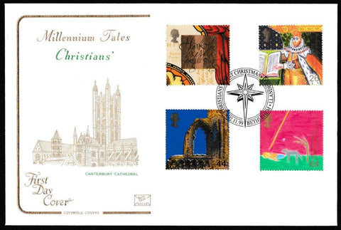 Great Britain First Day Cover, 'Christians Tale', Cotswold, Christians First Christmas, Bethlehem, Llandeilo, 02-Nov-1999