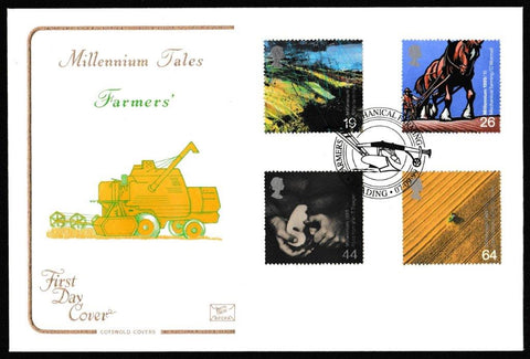 Great Britain First Day Cover, 'Farmers Tale', Cotswold, Mechanical Farming, Reading, 07-Sep-1999