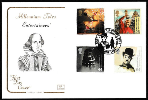 Great Britain First Day Cover, 'Entertainers Tale', Cotswold, A Tramp to a King, East Street, London, SE17, 01-Jun-1999