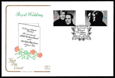 Great Britain First Day Cover, 'Royal Wedding', Cotswold, Royal Wedding 1999, Windsor, 15-Jun-1999