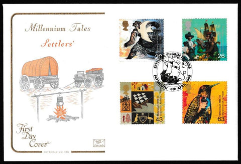 Great Britain First Day Cover, 'Settlers Tale', Cotswold, Settlers Pilgrim Fathers, Plymouth, 06-Apr-1999