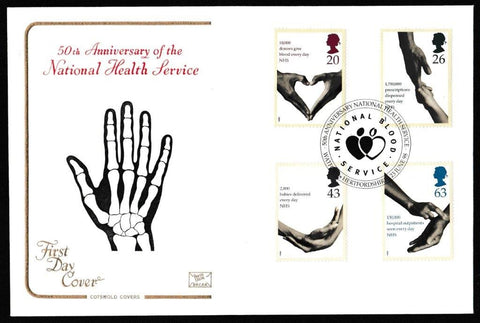 Great Britain First Day Cover, 'National Health Service', Cotswold, National Blood Service, Watford, Hertfordshire, 23-Jun-1998
