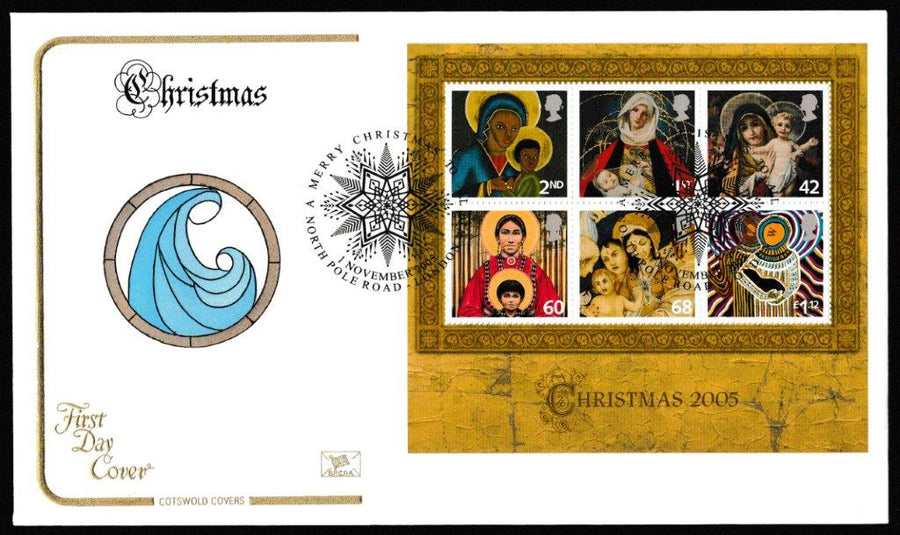 Great Britain First Day Cover - Mini Sheet, 'Christmas 2005- Mini Sheet', Cotswold, Merry Christmas to All, North Pole Road, London, 01-Nov-2005