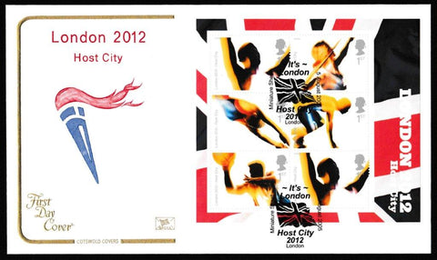 Great Britain First Day Cover - Mini Sheet, 'Londons Succuessful Bid for the 2012 Olympics - Mini Sheet', Cotswold, It's London Host City, London, 05-Aug-2005