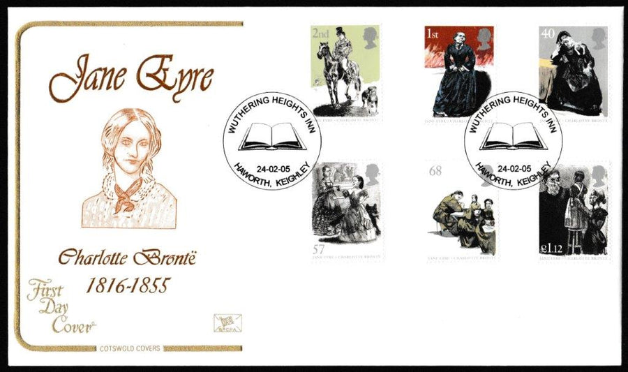 Great Britain First Day Cover, '150th Anniversary Death of Charlotte Bronte', Cotswold, Wuthering Heights Inn, Haworth, Keighley, 24-Feb-2005