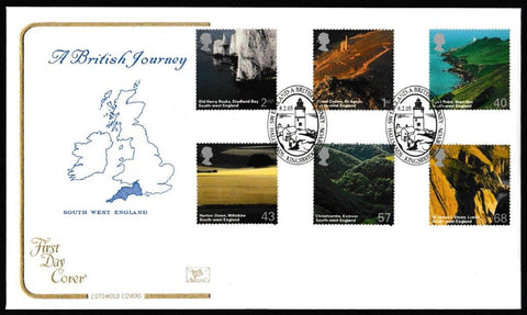 Great Britain First Day Cover, 'A British Journey: South West England', Cotswold, Hallsands, Kingsbridge, Devon, 08-Feb-2005