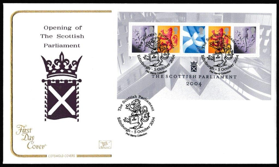Great Britain First Day Cover - Mini Sheet, 'The Opening of Scottish Parliament - Mini Sheet', Cotswold, The Scottish Parliament, Edinburgh, 05-Oct-2004