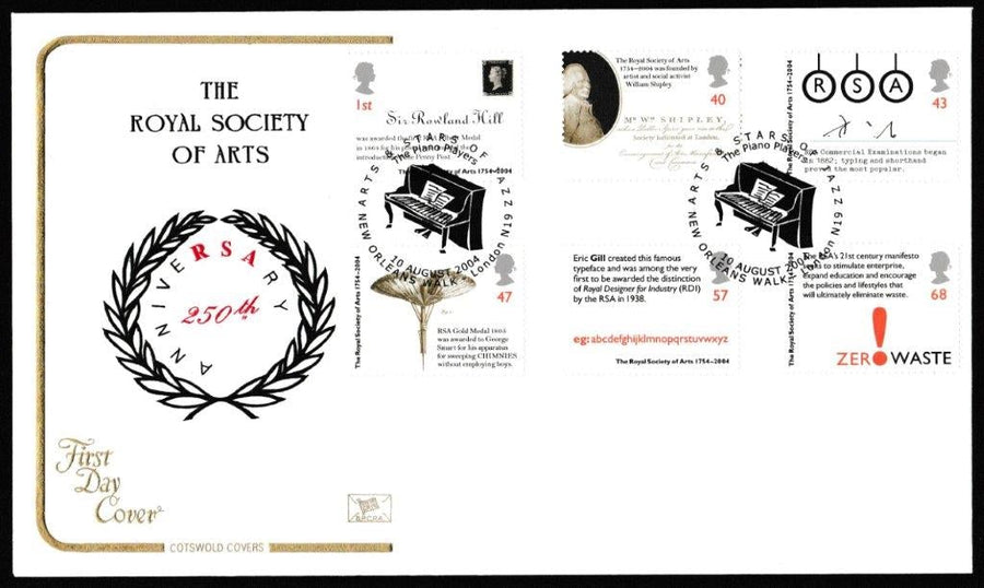 Great Britain First Day Cover, 'Royal Society of Arts 250th Wedding Anniversary', Cotswold, Arts & Stars of Jazz, New Orleans Walk, London, N19, 10-Aug-2004