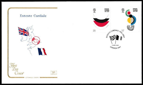 Great Britain First Day Cover, 'Entente Cordiale', Cotswold, Entente Cordiale, London, SW1, 06-Apr-2004