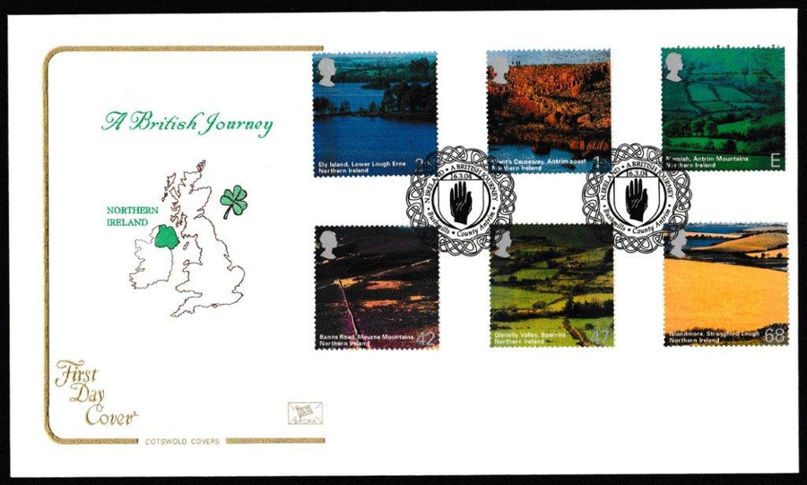 Great Britain First Day Cover, 'Northern Ireland', Cotswold, Bushmills, County Antrim, 16-Mar-2004