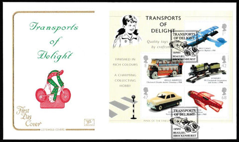 Great Britain First Day Cover - Mini Sheet, 'Transports of Delight - Mini Sheet', Cotswold, Transports of Delight, Bealieu, Brockenhurst, 18-Sep-2003