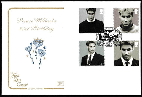 Great Britain First Day Cover, '21st Birthday HRH Prince William of Wales', Cotswold, HRH Prince William of Wales, London, W2, 17-Jun-2003