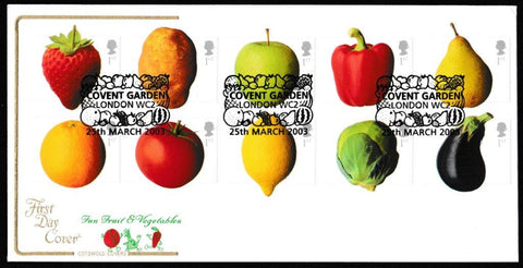Great Britain First Day Cover, 'Fun Fruit and Veg', Cotswold, Covent Garden, London, WC2, 25-Mar-2003